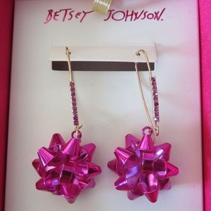 Betsey Johnson Pink Holiday Bow Earrings With Gift